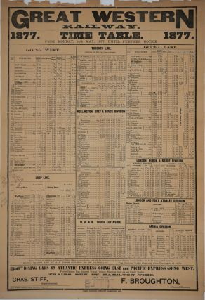 Great Western Railway Time Table, 1877. Canadian railway which served US northeast. Broadside.