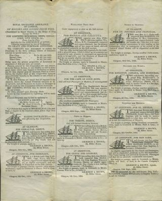 Printed letter sheet sent in 1834 with maritime advertising. Insurance, shipping advertising,...
