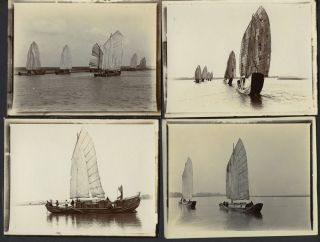 Chinese junks on the Han River, real photographs