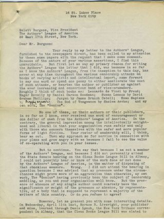 Typed Dreiser letter to Authors' League of America, on censorship. Theodore Dreiser