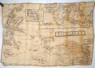 RAAF Escape & Evasion Silk map, Halmahera and New Guinea. WWII, Aviation, New Guinea