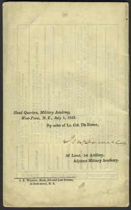 Official Register of the Officers and Cadets of the U. S. Military Academy, West Point, New York. June, 1842. Irvin McDowell's Signed Copy.