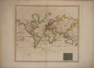 Hydrographical Chart of the World on Wright or Mercators Projection with Tracks of the Last...