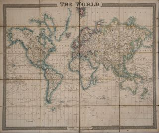 The World. Hand colored dissected map on linen. George Frederick Cruchley