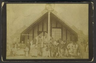 """Native Meeting House, NZ"". Albumen photograph Christmas card. New Zealand, Photography, Christmas"
