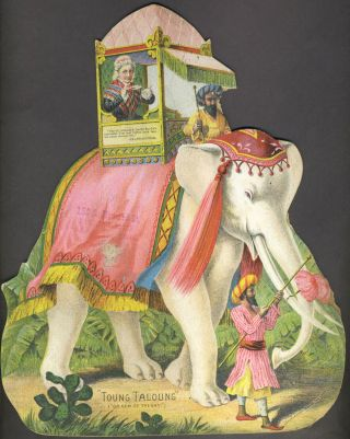 Great Atlantic & Pacific Tea Co. Tea advertising, die cut featuring PT Barnum elephant