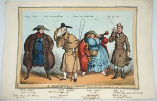 A Quartette in Character. Hand colored engraving. William Heath
