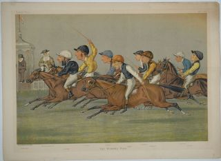 """The Winning Post"". Double Page chromolithograph. Lib Vanity Fair"