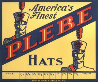 1920s Plebe Cadet Uniform Hat Box Label