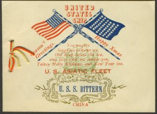 Season's Greetings. United States Ship. U.S. Asiatic Fleet, [with] black and white photograph of...
