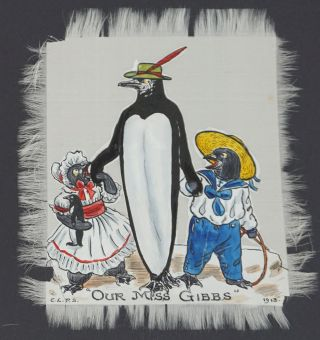 Anthropomorphic Penguins with their Children and Toys, with captions of London Stage Plays. E. L....