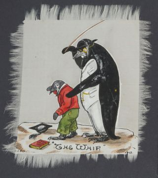 Anthropomorphic Penguins with their Children and Toys, with captions of London Stage Plays.