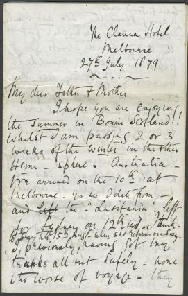 Three letters relating to his immigration to New Zealand via Australia from Scotland, with some...