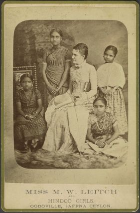 Miss M. W. Leitch and Hindoo Girls. Oodoville, Jaffna Ceylon. Photograph, Sri Lanka, Missions