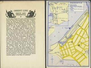 Orient Line, Perth and Fremantle handbill & 2 city plans. Western Australia