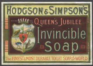 Hodgson & Simpson's Queen's Jubilee Invincible Soap; original artwork. Advertising, Australia.