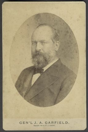 """Puckographs I, James A. Garfield"", with cabinet card portrait and 3 other items."
