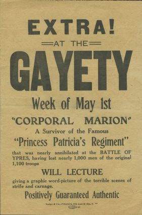 """Corporal Marion"", A Survivor of the ... Battle of Ypres"". W.W.I propaganda handbill. W W. I"