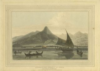 """Anjere Point, Straits of Sunda"". Color aquatint. Thomas Daniell"