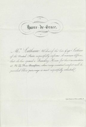 Havre de Grace. American Naval officer's widow boarding house invitation. U S. Navy, George W....