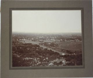 View from Mandalay Hill and Kuthodaw Pagoda, Burma. 2 Photographs of British Burma. Burma,...