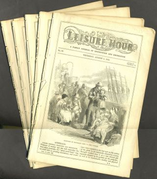 The Leisure Hour: A Family Journal of Instruction and Recreation - 5 issues from 1852. W. H. Miller