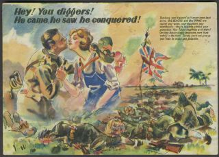 "WW II Japanese propaganda leaflet, ""Hey! You diggers! He came, he saw, he conquered!"""