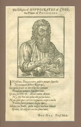 The Effigies of Hippocrates of Coos, the Prince of Physicians. Woodblock portrait.