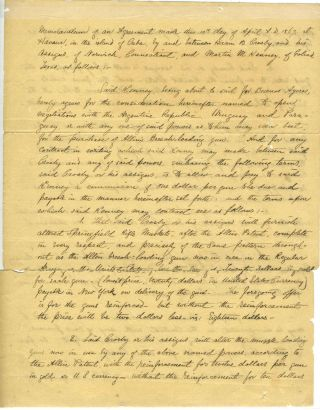 An American Contract to Sell Guns in South America during the Paraguayan War. Hiram Crosby,...