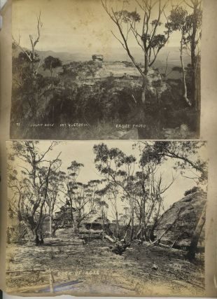 """Black Trackers"", aborigines, [with] 'Pulpit Rock, Mt. Victoria', 'Rock of Ages', 'The Orphan, Katoomba'. Photographs."