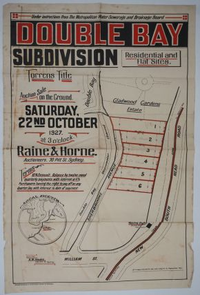 Double Bay Subdivision. For Auction Sale on the Ground Saturday, 22nd October 1927 at 3 o'clock....