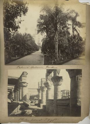 """Coogee Bay' and ""Palms Botanic Garden"" verso with ""Philae Island, Egypt"". Albumen photographs."