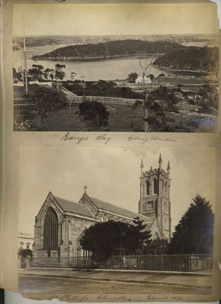 """S. S. Austral Sunk in Sydney Harbor"" [with] 3 Bayliss images: 'Rocks Outside South Head', ""Barrys Bay"", St. Phillips Church, Church Hill"". Albumen photographs."