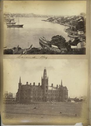 "Sydney images: ""Lavender Bay"", ""St. Andrews College"", ""Government House"". Albumen photographs...."