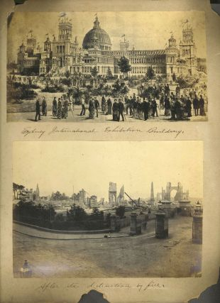 """""""Naval Sham Fight"""" Sydney Harbour, one of 5 photos in and around Sydney: with International Exhibition Building after the fire, and native animals."""