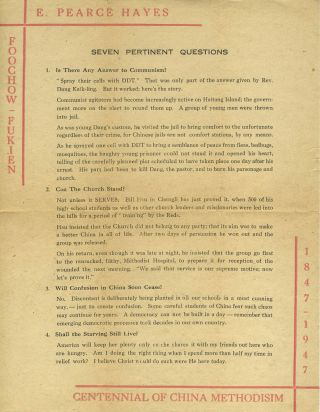 """Seven Pertinent Questions. Centennial of China Methodism"". Foochow broadside. China, E. Pearce..."