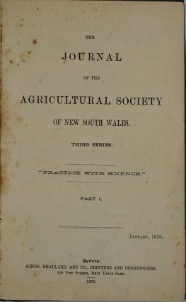 The Journal of the Agricultural Society of New South Wales.