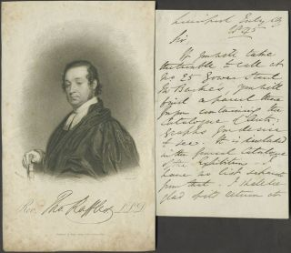 Autograph letter from Rev. Thomas Raffles to Mr. (William) Bullock, lending him a catalogue of...