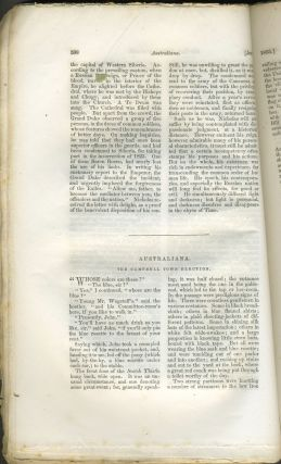 """""""Australiana, The Campbell Town Election"""", concerning the upcoming election & controversy over convictism in Van Diemen's Land. Putnam's Monthly. A Magazine of Literature, Science, and Art. June 1855."""
