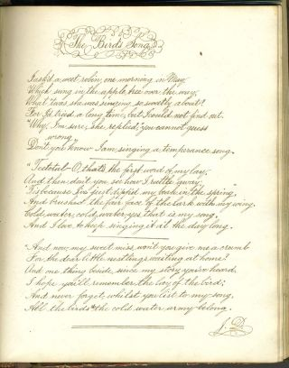 "Friendship book 1863, with poem about a slave, ""The Faith of a Negro Boy"""
