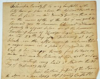 "Case of trespass brought by ""Peter, a negro man"" in 1800, Hudson NY. African American, New York..."