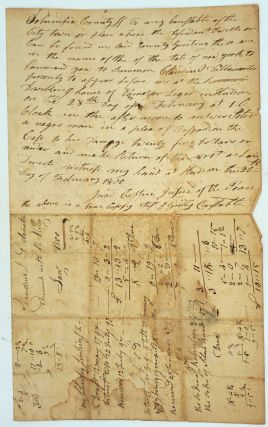"""Case of trespass brought by """"Peter, a negro man"""" in 1800, Hudson NY."""