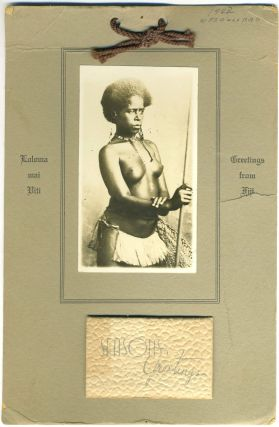 "1943 Calendar with real photo of Fijian woman ""Loloma mai Viti - Greetings from Fiji"" Fiji,..."