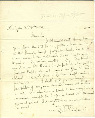G. C. Verplanck ALS letter to NY Comptroller Silas Wright about tax bill on land in the...