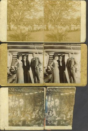Fiji/Suva personalized stereoviews, including an investiture ceremony, possibly Governor Thurston or Governor O'Brien.