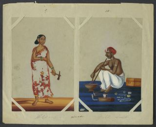 14 Paintings on mica of trades people of India, with original index