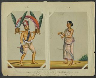 14 Paintings on mica of trades people of India, with original index.