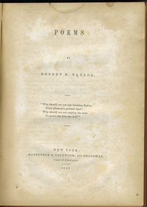Poems. Robert H. Taylor