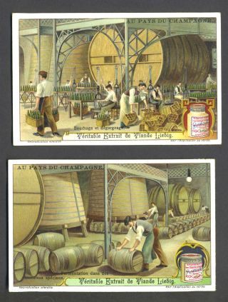 "Set of 6 cards featuring wine & champagne making, for ""Veritable Extrait de Viande Liebig"" Wine,..."