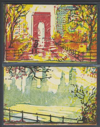 4 Original art postcards, New York City. Leon Dolice